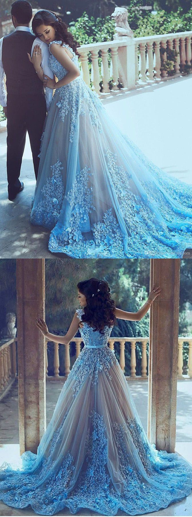 Sleeveless Blue Tulle Dress With Chapel Train,Princess Dress