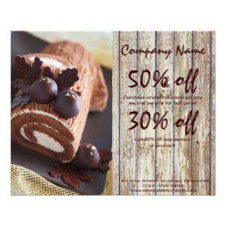 チョコレートケーキの素朴な国のパン屋ビジネス 11.4CM X 14.2CM チラシ