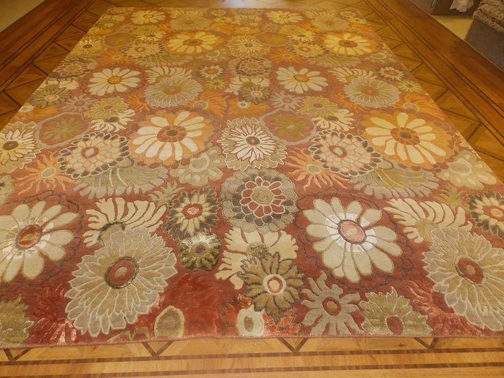 X Rust Green Floral Indo Nepal Wool Modern Hand Knotted Area Rug