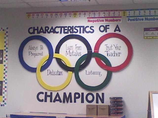 We had an Olympic theme this year, so my mother helped create the Olympic Rings for me!