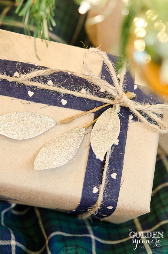 Neutral and Navy Gift Wrap with Kraft Paper, Fabric, and Twine and a Little Glitter