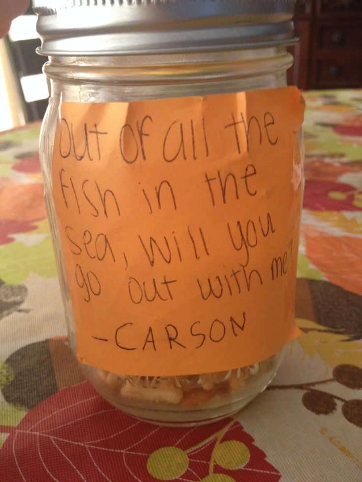Best 25 asking a girl out ideas on pinterest victorya secret cute way to ask a girl out jar filled with goldfish ccuart Image collections