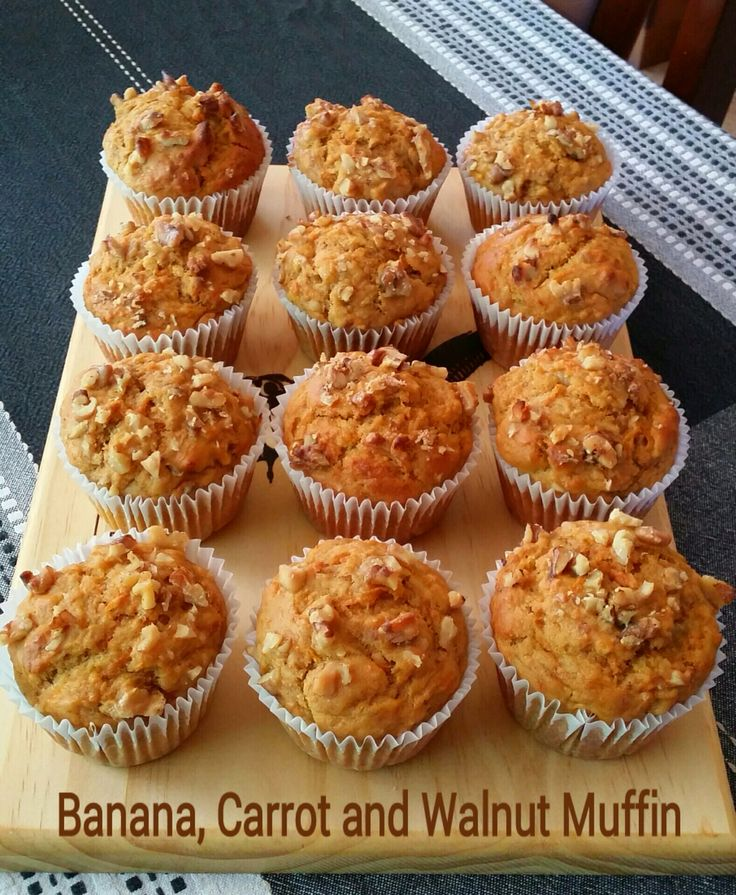 Banana, Carrot and Walnut Muffin