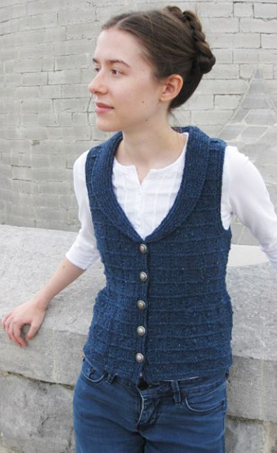 Easier than it looks!  Free Pattern: The pattern stitch for this vest, with its little boxes, is an adaptation of the traditional Gansey stitch, Grampian Steps, consisting of eight rows, five of which are in just plain knitting.