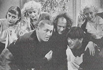 Lucille Ball, Moe Howard, Larry Fine, Phyllis Crane, Gertie Green, and Curly Howard in Three Little Pigskins (1934)