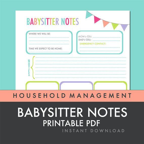 Babysitter Notes - Printable PDF - INSTANT DOWNLOAD
