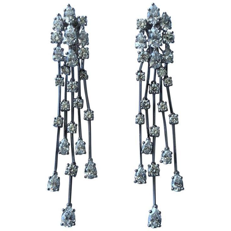 Graff Waterfall Diamond Platinum Earrings 1