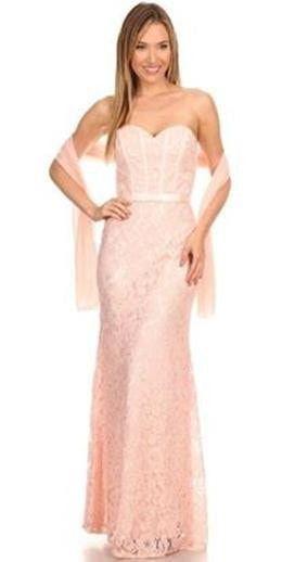 Eva Kind Of Love Blush Pink Lace Strapless Maxi Dress
