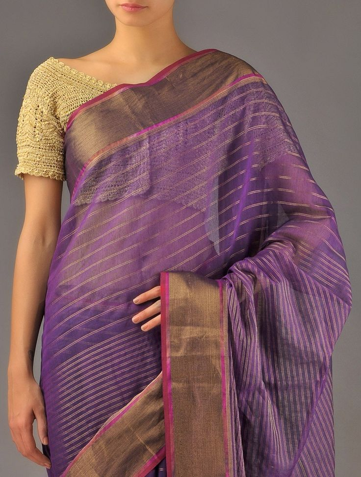 Purple Maheshwari Silk Cotton Saree - Buy Sarees > Woven Sarees > Purple Maheshwari Silk Cotton Saree Online at Jaypore.com