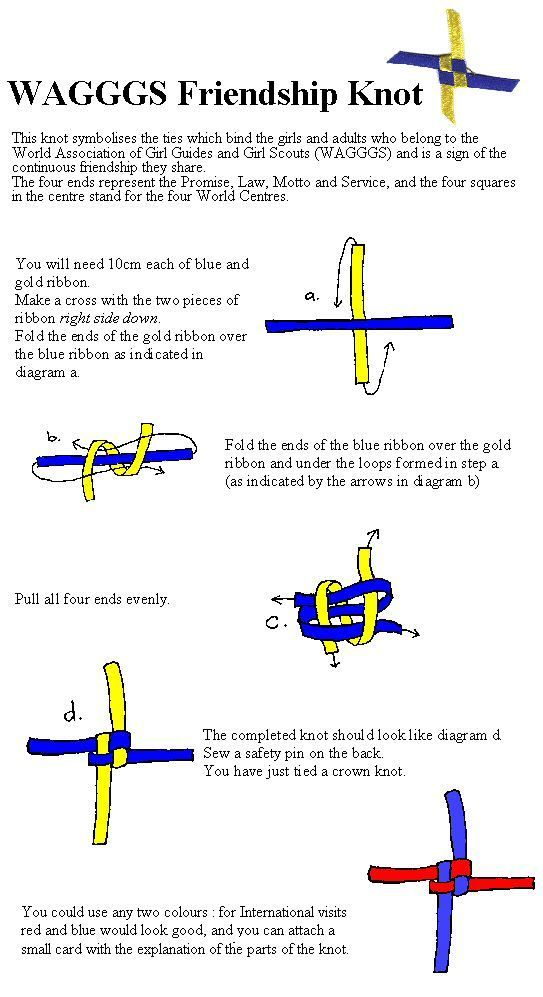 WAGGGS Knot for International Day/Thinking Day pot latches/swaps Nice instructions and explanation- looks simple to make (once you have the steps down!).: