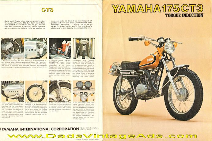 1973 yamaha 175 ct3 torque induction motorcycle brochure. Black Bedroom Furniture Sets. Home Design Ideas