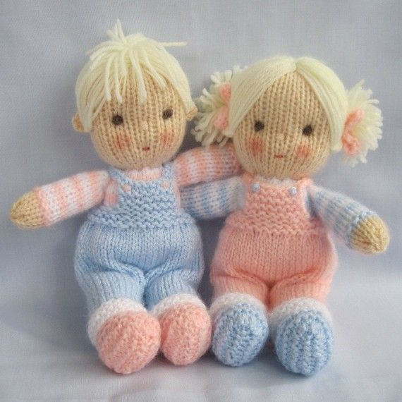 Pattern is written in ENGLISH. Other languages NOT available.  INSTANT DOWNLOAD - PDF download button is on your Purchases and reviews page (to find this click on You top right of page).  JACK and JILL Knitting pattern contains instructions for these cute little JACK and JILL dolls. Their clothes cannot be removed.  SIZE: Jack and Jill - 23cm (9in)  NEEDLES: knitted on two straight 3.25 mm needles (US 3)  YARN: DK (double knitting) yarn. (USA - light-worsted/Australia - 8 ply). SKILLS…