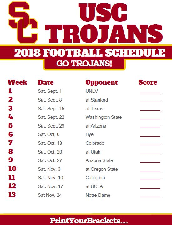 2018 Printable USC Trojans Football Schedule