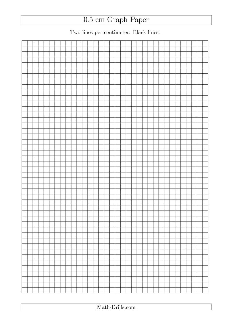 The 0.5 Cm Graph Paper With Black Lines (A4 Size) (A) Math