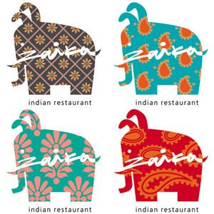 Love this Indian restaurant logo- patterned elephants combined with an eye-catching font.