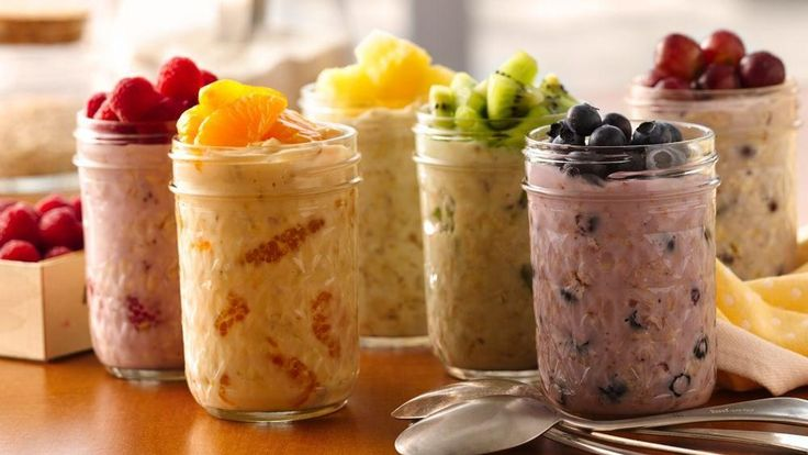 overnight oatmeal 6 oz fat free yogurt 1/4 c old fashion/ quick-cooking oats 1/4 c fruit  1 Steps      2 1 In container w cover, mix yogurt n uncooked oats Stir in fruit      3 2 Cover; refrigerate  least 8 hrs  upto 3 days      4 Passionate Oatmeal: Stir in 1/4 c raspberries     5 Energized: Stir in 1/4 c mandarin oranges     6 Positive : Stir in 1/4 c pineapple      7 Harmonious: Stir in 1/4 c kiwifruit.      8 Relaxed: Stir in 1/4 c blueberries      9 Romantic : Stir in 1/4 c sliced…