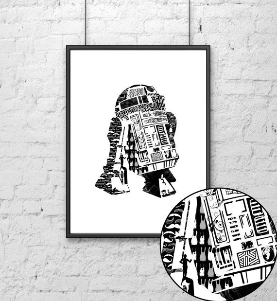 Please note this is an UNFRAMED Print All you Star Wars Lovers here you find your favourite R2D2 Robot print, Star Wars poster art, Star Wars print, film print, Star Wars movie art, typographic print, black and white, Printable type artwork, wall art and home decoration, typography