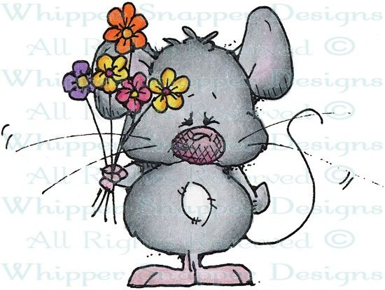 Mouse with Flowers - Mice - Animals - Rubber Stamps - Shop