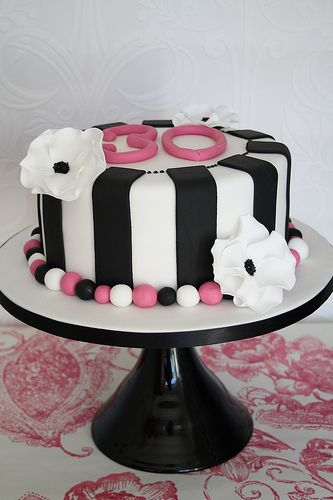 Monochrome 30th cake