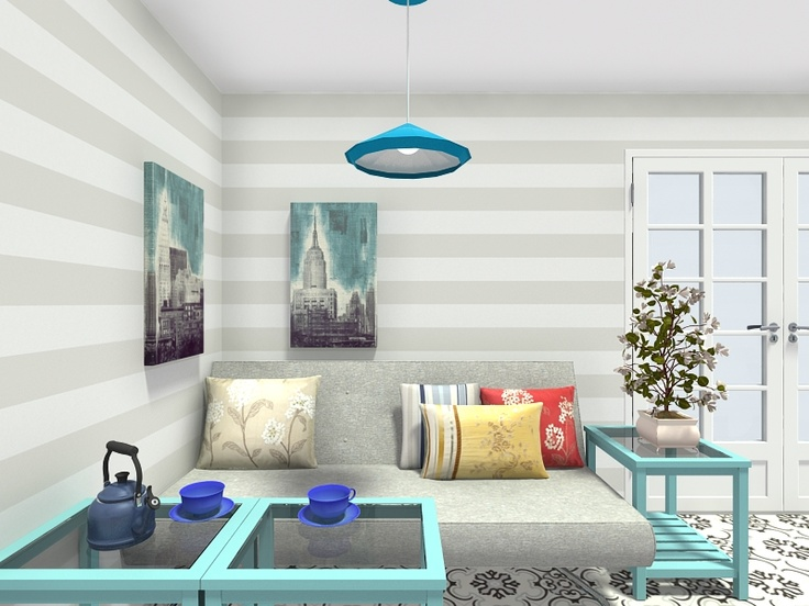 3d floor plan for a modern living room with striped eco wallpaper