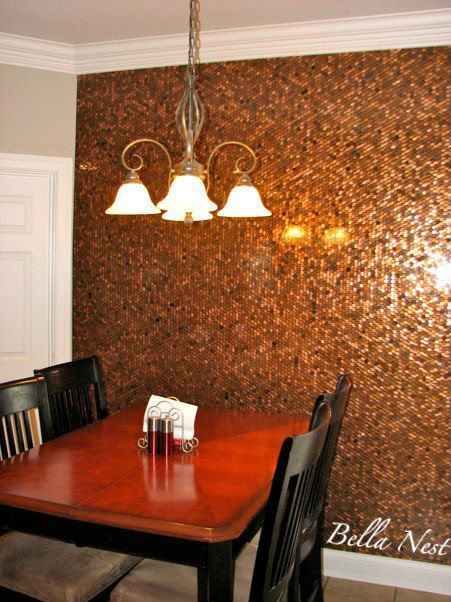 Penny Wall and 17 other nifty ideas with pennies. Ack, that wall looks so cool.