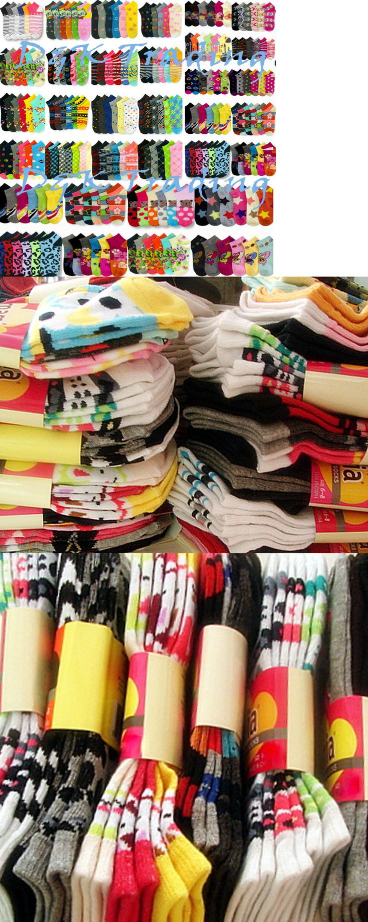 Socks 163588: Women S Girl Wholesale Socks Lot 6-8 9-11 Mixed Assorted Designs Colors Novelty -> BUY IT NOW ONLY: $34.4 on eBay!