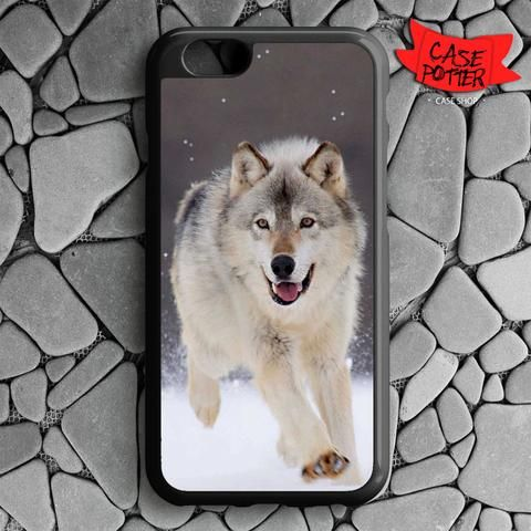 Wolf Run On White Snow iPhone 6 iPhone 6S Black Case