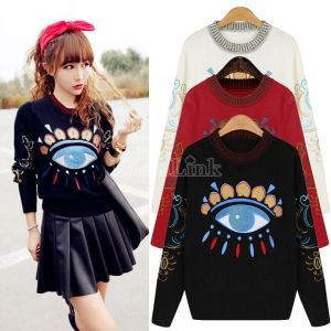 Women Knitted Big Eye Pattern Loose Pullover Thick Sweater