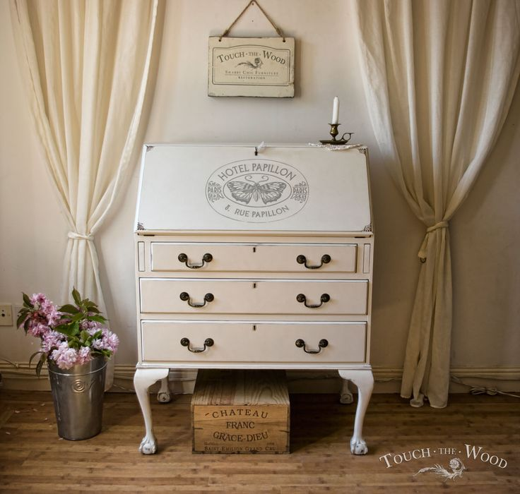 Shabby Chic Writing Desk with Vintage French Print #zarahome