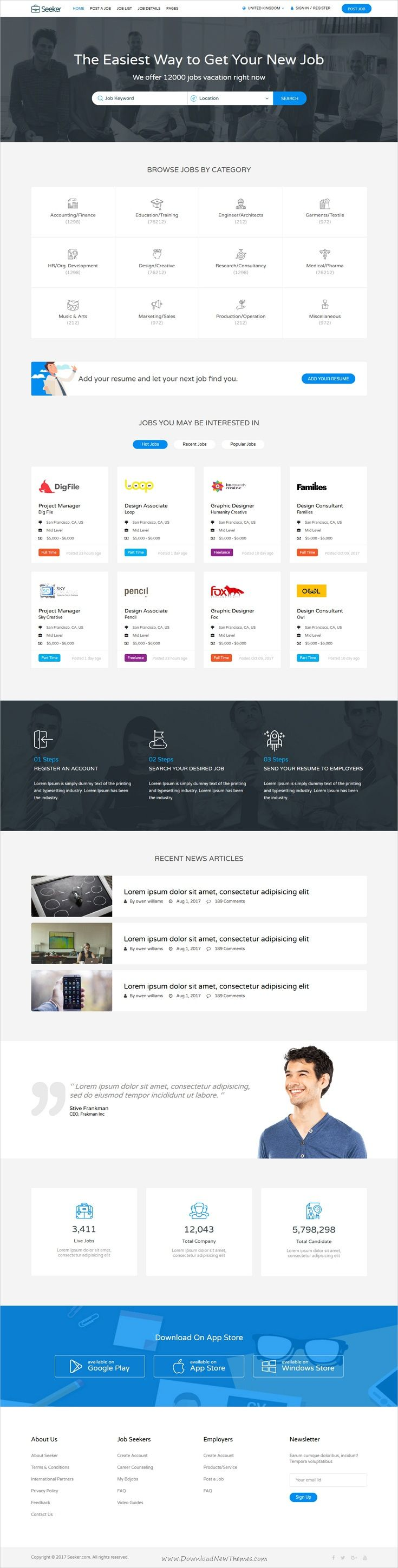 Seeker is clean and modern design 2in1 responsive #bootstrap template for professional #recruiters, #jobboard and job offices website download now..