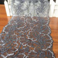 20 cm ancho gris oscuro elástico del ajuste del cordón de accesorios de BRICOLAJE cinta de encaje cordón francés suizo nupcial. diadema, garter