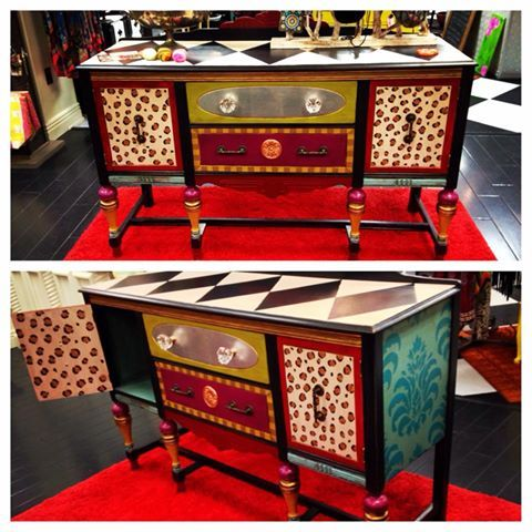 Funky Hand Painted Sideboard At Posh Alley Boutique In Bentonville, AR. The  Knobs