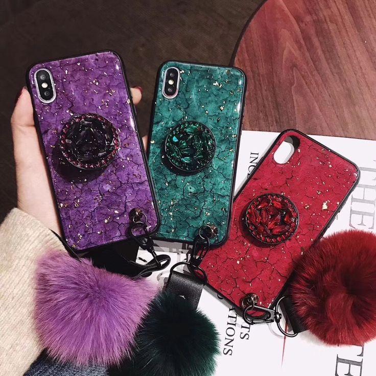 Diamond crystal pop socket phone case for iphone xs xr x 8
