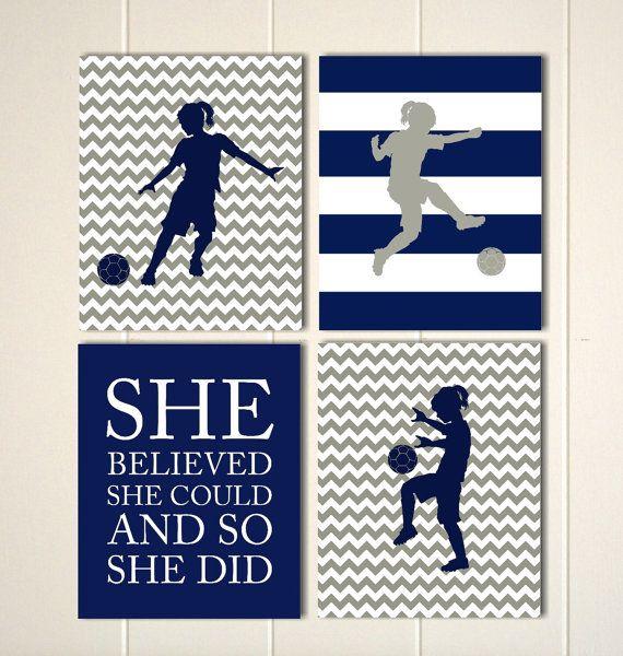 Soccer girl wall art, girls wall art, pre teen girls art, soccer, girls motivational art, girls bedroom, sports art, Set of 4 prints