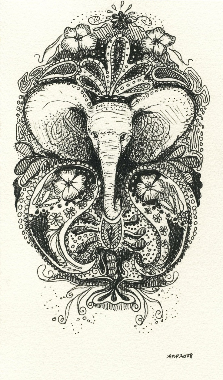 Henna Elephant Tattoo Designs: White Elephant Henna-style Tattoo RESERVED For