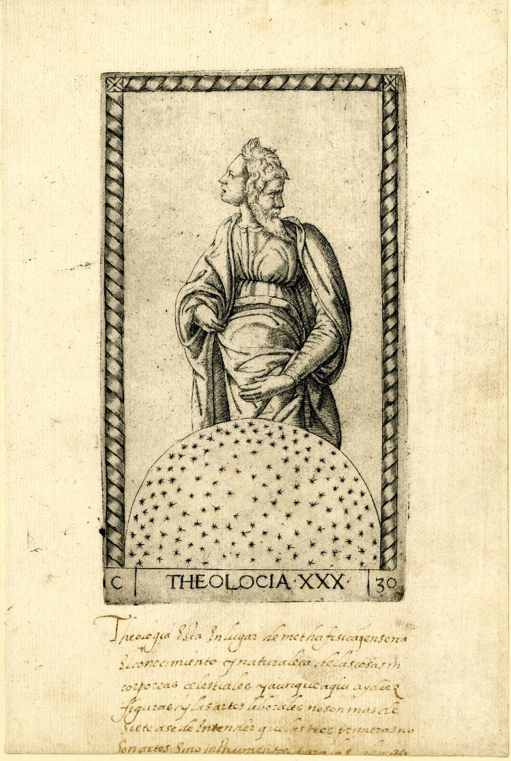 HL figure with a male face in profile to r, a female face in profile to l, standing behind a large sphere filled with stars; after the so-called Tarocchi Cards of Mantegna. Engraving