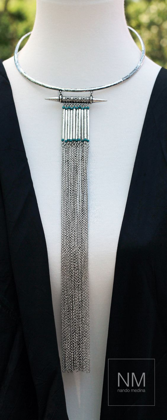 A sexy Cherokee ring necklace, a perfect piece to wear with a deep V-neck outfit for those early or late evenings occasions.