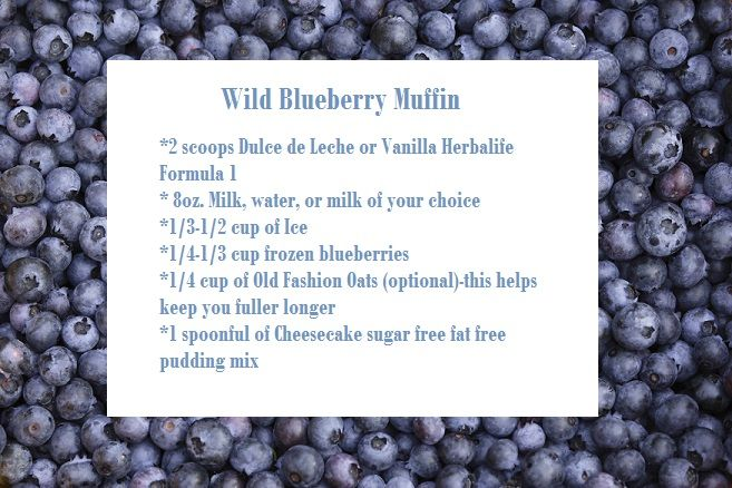 Blueberry Muffin Herbalife Shake. Wow, this does taste like blueberry muffins. Used 1 scoop vanilla protein powder, 1/4 cup frozen blueberries, 2 tablespoon SF Torani vanilla syrup, 1 tablespoon SF white chocolate pudding mix and ice.