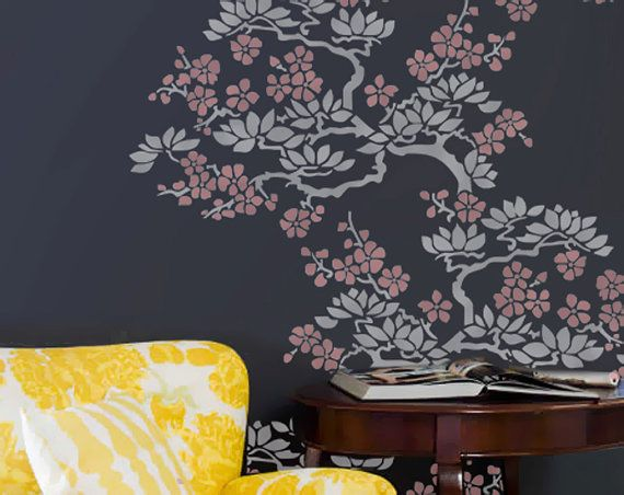 Wall Stencil  Plant Flower Branches Tree Allower Pattern Wall Room Decor Made by OMG Stencils Home Improvements Color Paintings 00049