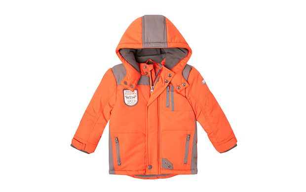 """Sporty Quilted Jacket. """"Grey zips and panels add a sporty touch to this quilted orange jacket."""""""