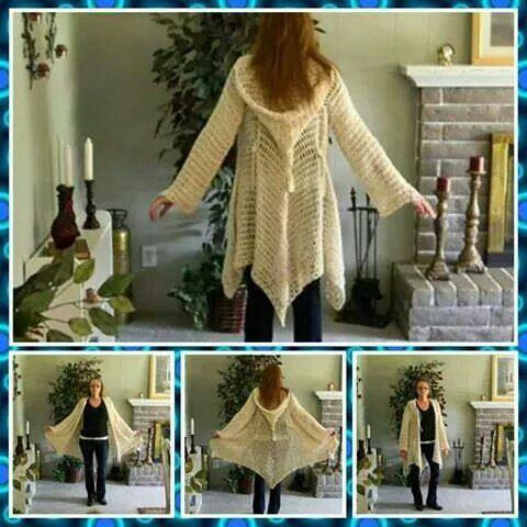 Glenda's Hooded Gypsy Cardigan: http://tidd.ly/44e117bf (affiliate) -Pamela #crochet #patterns #crochetersanonymous