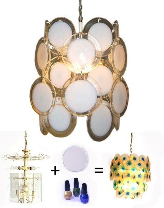 Diy lucite disc chandelier