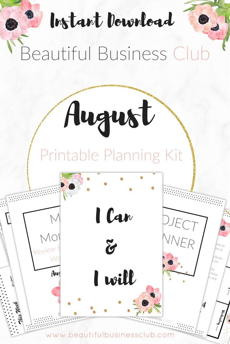 Beautiful Business Club Members August Printable Planning Pack is here! Pretty printables to help you plan and organise your business. This month you will receive your monthly review and intentions workbook, a project planning workbook, desktop organiser, motivational poster, day planner, week planner and week grid. Become a member today to get your pack delivered to your inbox instantly!