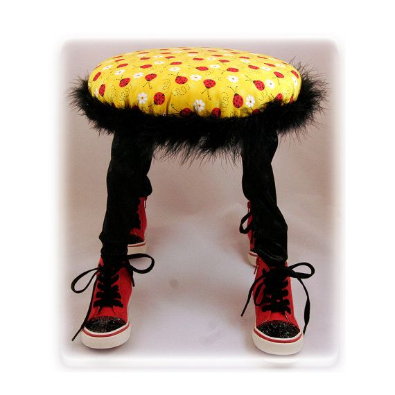 Footstool, Small Footstool, Child's Chair, Lady Bugs, Children's Furniture, Handmade, Unique Baby & Children's Gift, Baby Nursery Furniture