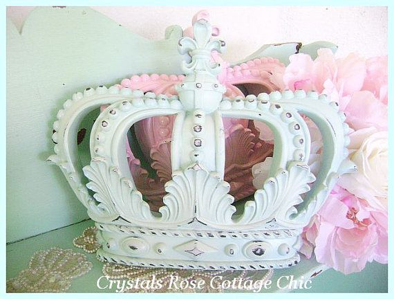 shabby chic light aqua distressed bed crown fleur de lis decor prince princess nursery girls. Black Bedroom Furniture Sets. Home Design Ideas