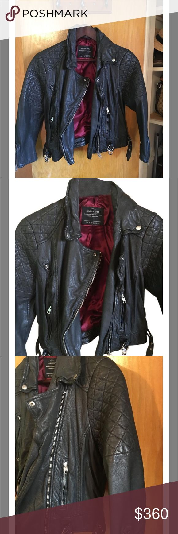 Leather jacket Leather motorcycle jacket allsaints Jackets & Coats