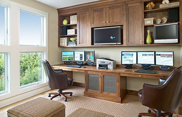 Office - room length desk, hanging shelves/cabinets    natural walnut home office furniture