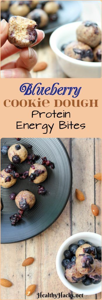 7 simple ingredients is all it takes to make these High Protein, Refined Sugar Free Blueberry Cookie Dough Protein Energy Bites. And they really do taste like cookie dough! They're gluten free and vegan, too!