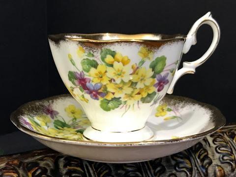 Royal Albert, Yellow Primrose Teacup and Saucer, Heavily Decorated Tea Cup, Bone China K-