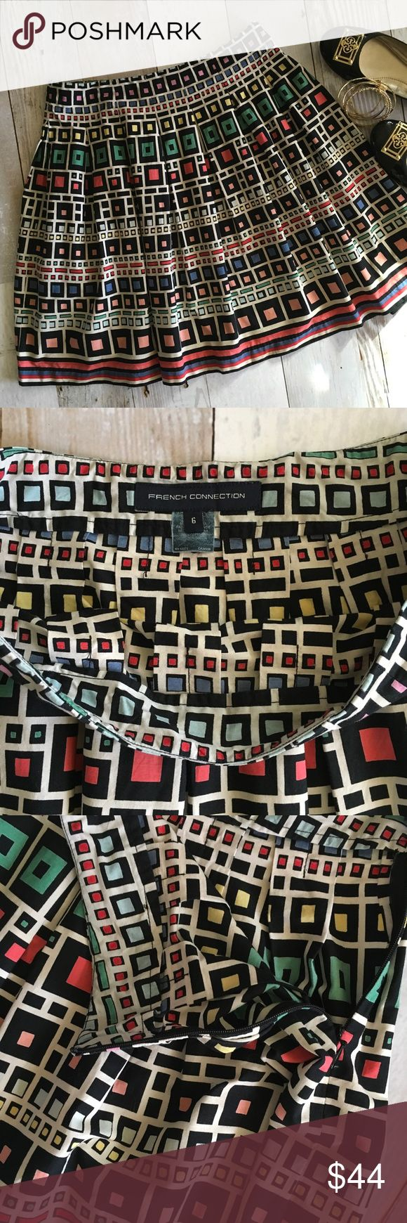 """French Connection Square Print Cotton Skirt Super cute French Connection pleated flared skirt with fun geometric multicolored square print.  Perfect like new condition  * 100% Cotton * Side Zipper * 15"""" across waist * 20"""" Long French Connection Skirts"""